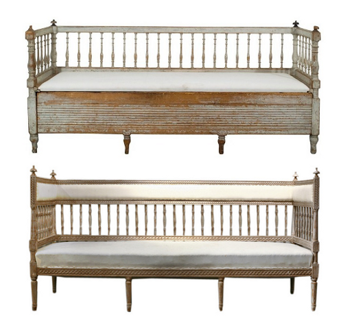 Swedish Gustavian Pine Benches