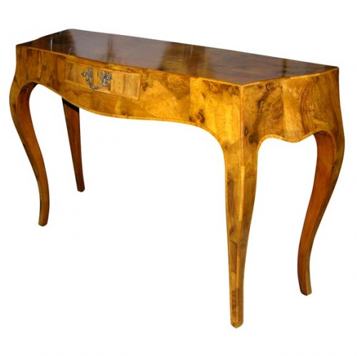 Lyrical Neoclassical Oyster Burl Wood Console