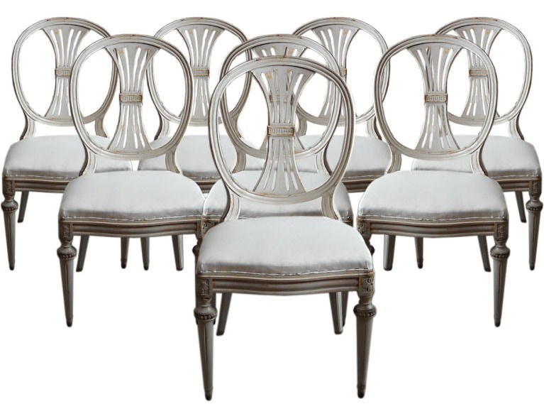 Gustavian style dining chairs seller cupboards roses for Swedish style dining chairs