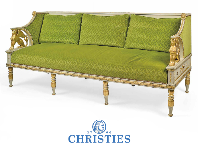 A Swedish Parcel Gilt And Grey Painted Sofa