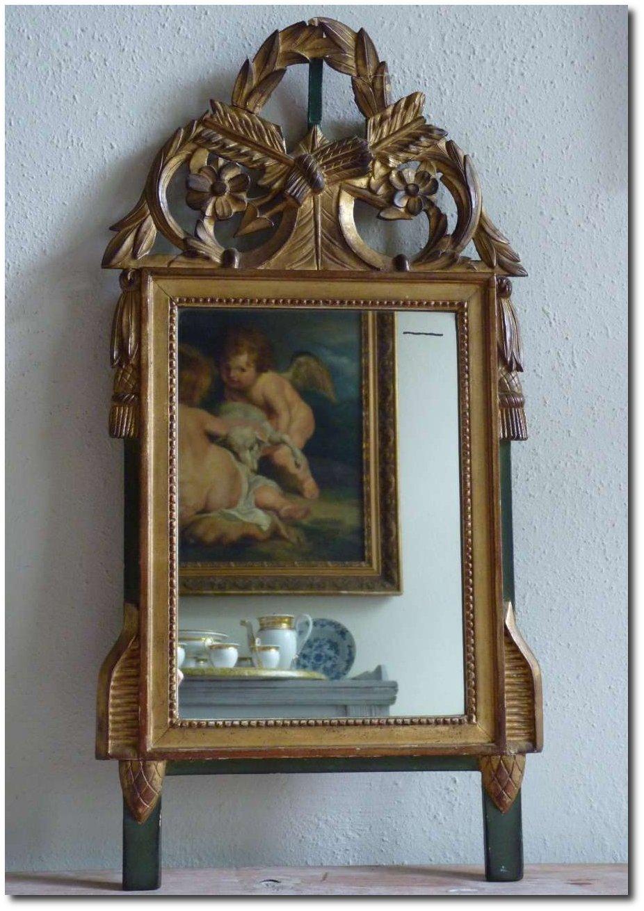 miroir et trumeau miroir style louis xvi en bois polychrome