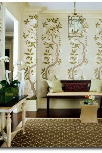 timothy whealon entryway climbing vine wallpaper bench