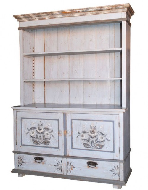 Folk art painted step back hutch with adjustable shelves, two drawers and two doors.
