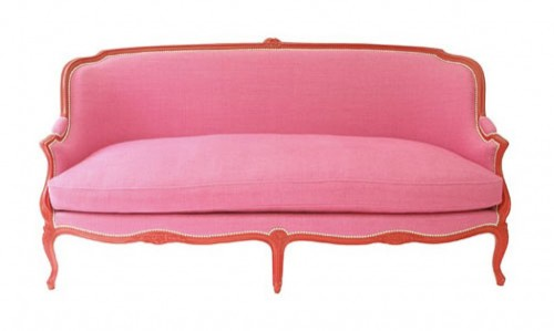 French Sofa Upholstered With Pink and A Red Painted Frame