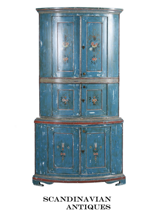 Original Blue Painted Swedish Corner Cupboard