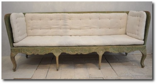 Swedish 18C Rococo Canape With Original Paint C.1770
