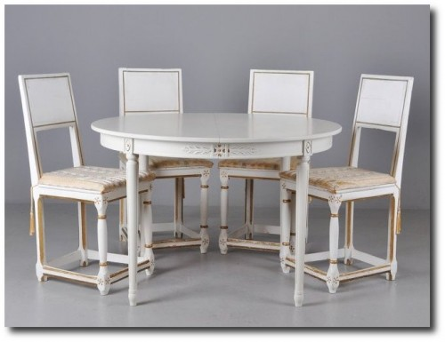 White Table set ,White Painted Furniture, Gustavian Furniture, Swedish Furniture, Updating Furniture, Swedish Decorating Ideas