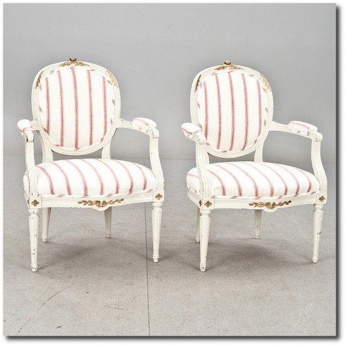 2 Armchairs Gustavian- Swedish Furniture From Bukowski Market-Gustavian, Gustavian Furniture, Rococo Swedish, Swedish Antiques, Swedish Auction Markets, Swedish Online Furniture Auctions