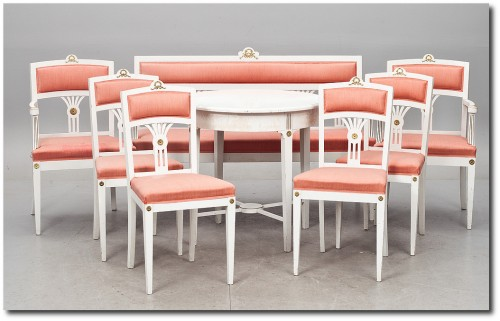 8 parts. Gustavian style, circa 1900.- Swedish Furniture From Bukowski Market-Gustavian, Gustavian Furniture, Rococo Swedish, Swedish Antiques, Swedish Auction Markets, Swedish Online Furniture Auctions