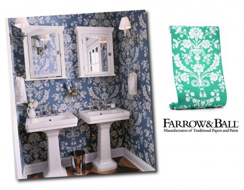 Blue and white St. Antoine wallpaper by Farrow & Ball Keith Scott Morton