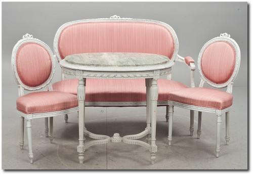 Swedish 4 piece set- Swedish Furniture From Bukowski Market-Gustavian, Gustavian Furniture, Rococo Swedish, Swedish Antiques, Swedish Auction Markets, Swedish Online Furniture Auctions