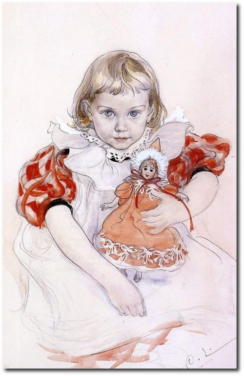 Carl Larsson A Young Girl with a Doll - Premium  Print