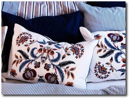 Discontinued Ikea Alvine Spetsig Floral Embroidered Scandinavian Pillow Cover