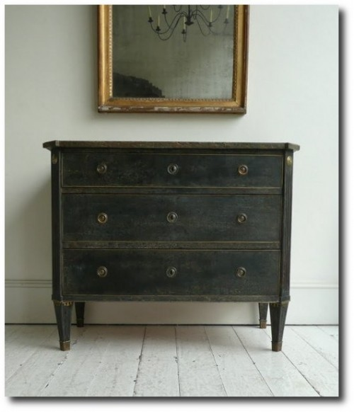 Swedish Gustavian Chest, Painted Furniture, Distressed Furniture, Black Painted Furniture