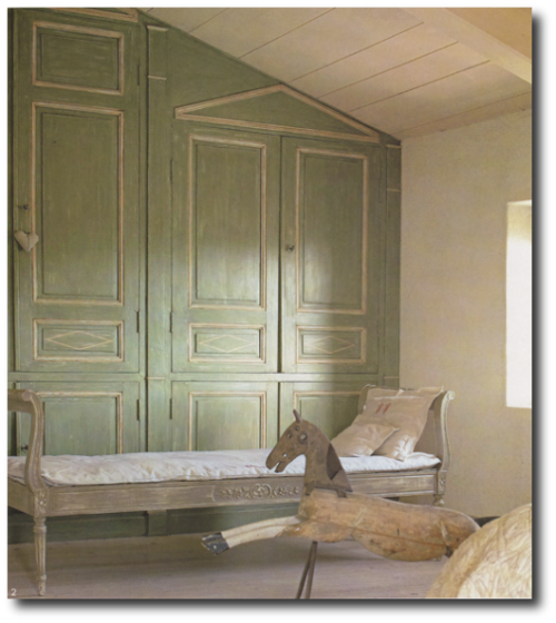 Green Washed Wood Panel Wall
