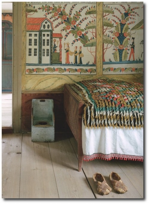 The colorful knotted throw was created to compliment the wall painting.