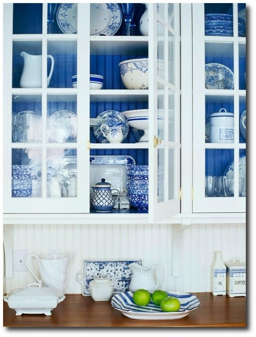 Decorate With blue and white transferware, and cobalt blue.