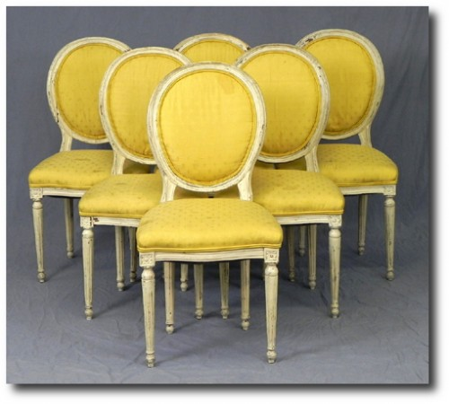 Set of Six Louis XVI Style Medallion Back Dining Chairs, early 20th c., upholstered in yellow fleur-de-lis fabric,