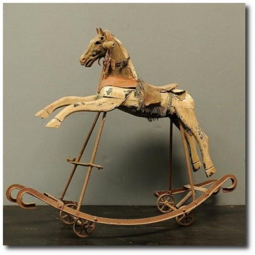 Antique French child's rocking horse c.1880
