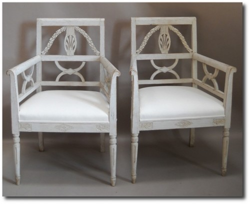 Pair of Carved Armchairs in the Empire Style