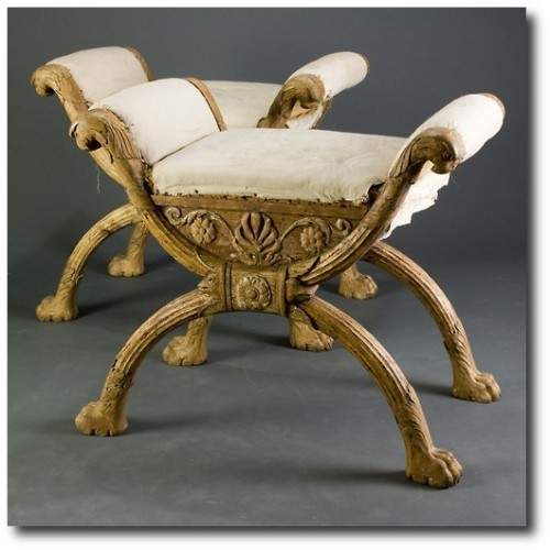 Pair of Early Swedish Empire Stools , Circa 1820.