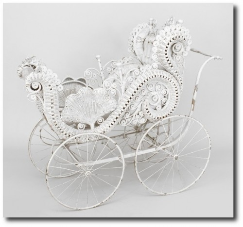 Wicker Victorian misc. furniture baby carriage
