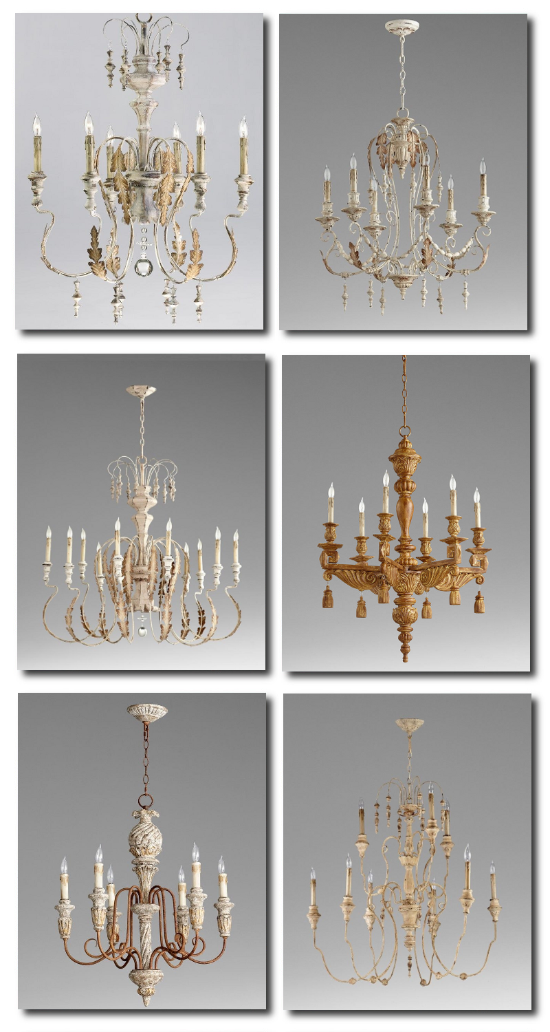 French Iron and Wood Chandeliers On Ebay