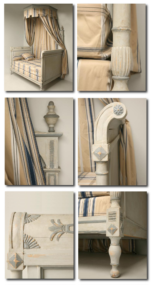 Terrific Painted Details On A Bed From Old Plank