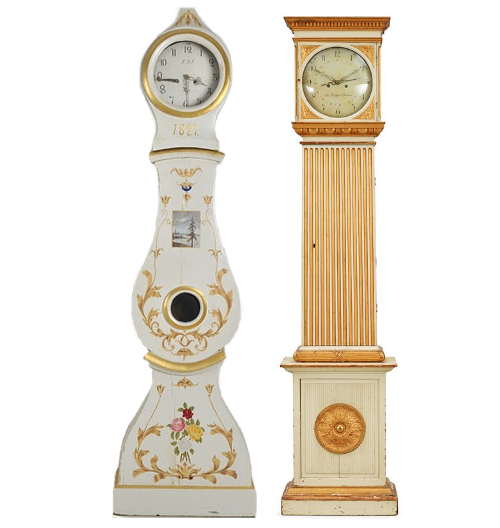 A Gustavian late 18th century longcase clock From Bukowskis, A Swedish Mora Clock From 1820-40, from Lauritz