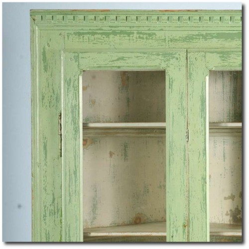 Antique Original Painted Green Corner Cupboard, Sweden Circa 1880