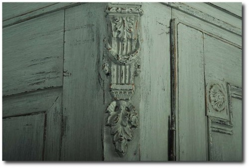 Antique Painted Swedish Armoire with Carved Detail, circa 1850-70 Scandinavian Antiques