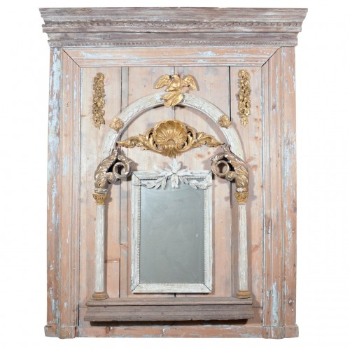 Italian Trumeau Mirror, Comprised of 18th & 19th Century Architectural Elements Sold Through Maison Maison