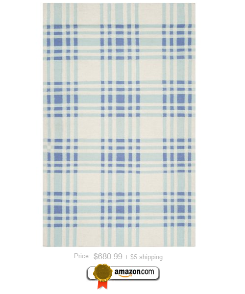 Novel Plaid Powder Blue and Periwinkle Wool Area Throw Rug