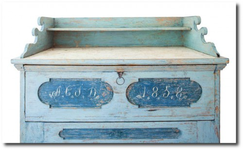 Swedish Secretary in Original Blue Paint, Signed and Dated 1858