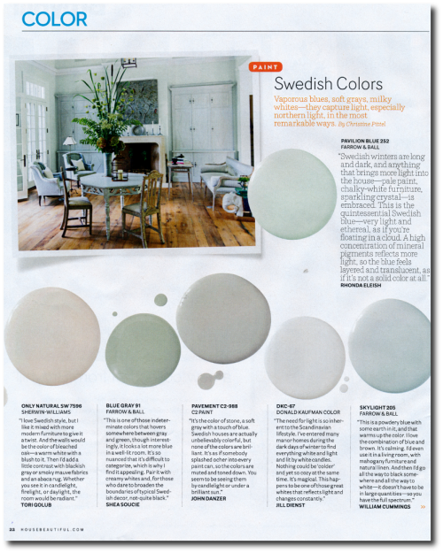 12 Interior Designers Pick Their Favorite Swedish Paint Colors House Beautiful's September 2014 issue- Photographer Michael Croteau 1