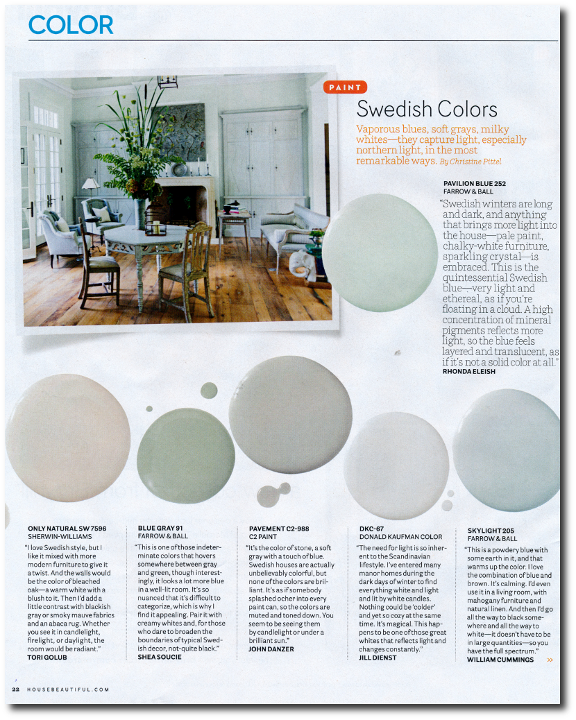 12 Interior Designers Pick Their Favorite Swedish Paint Colors House  Beautifulu0027s September 2014 Issue  Photographer ...