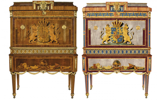 Gottlieb Iwerssons bureau 500x321 New Research Suggests Swedish Furniture In The 1700s May Have Had Strong Colors