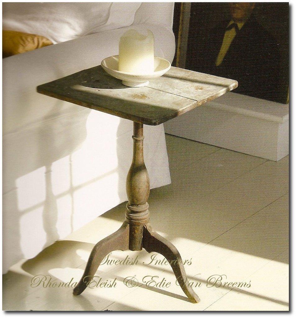 Swedish Painted Tilt Top Candle Stand From Rhonda Eleish And Edie Van Breems