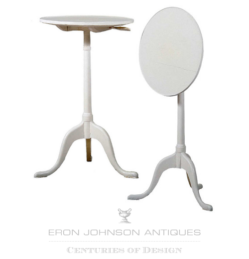 Swedish/English Painted Birch Round Tilt-top Tripod Table $295- Eron Johnson Antiques.com