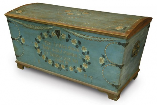 Swedish wedding chest with domed top dated 1809 via Liveauctioneers