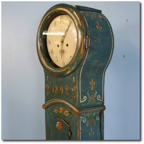Antique Original Painted Swedish Mora Grandfather Clock, circa 1842 Scandinavian Antiques