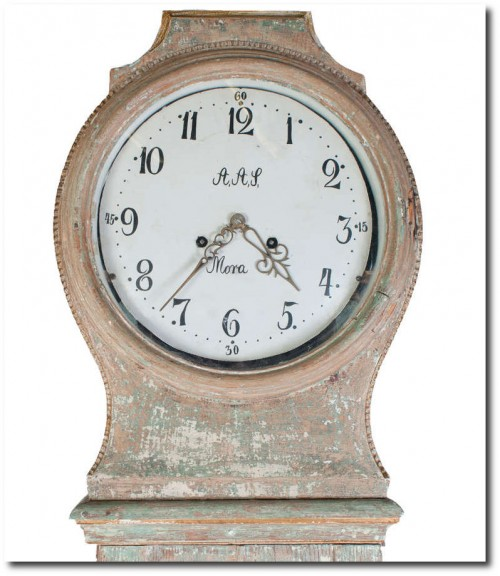 Light Green Painted Swedish Mora Clock Cote Jardin Antiques