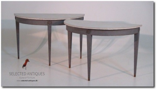 Pair of Gustavian style demi-lune tables, 19th C.
