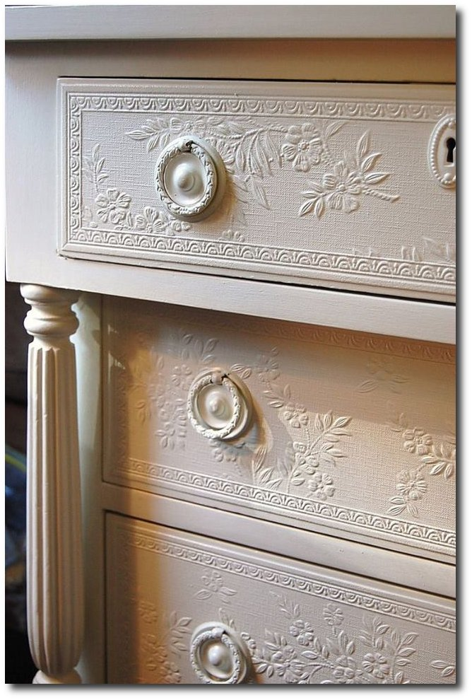 Get some ideas from this delicate and intricate design by using embossed wallpaper to decorate a chest. Seen on A Changing Nest Daniella Burnett , Found on etsy.com