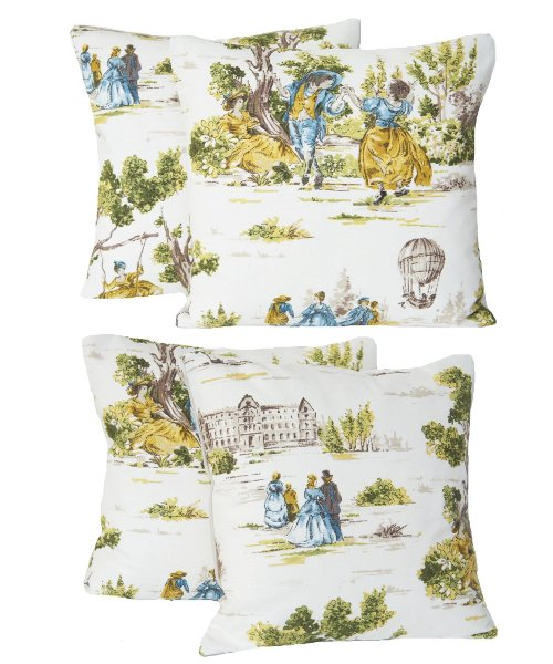 French Toile Style 2 Decorative Throw Pillow Cases Yellow And Green Pattern Pair of Two