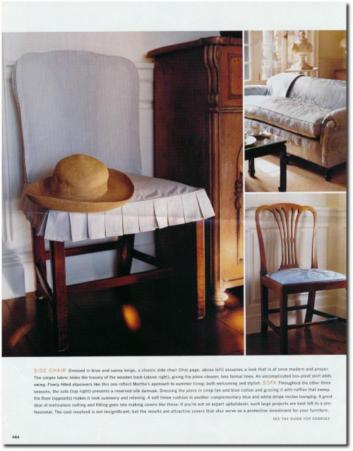 Making Summer Slipcovers For Your Upholstered Furniture- Martha Stewart's Furniture 5