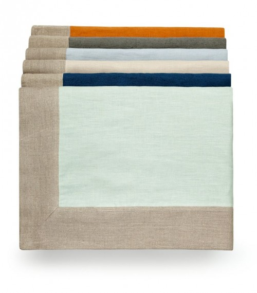 Pure linen throws with a natural border in five colors - Saffron, Slate Grey, Parma Grey, Putty, Prussian Blue & Sea Green from Volga Linen