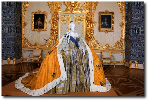 Replica of a ball gown of Empress Elizabeth displayed at the Catherine Palace in Tsarskoye Selo