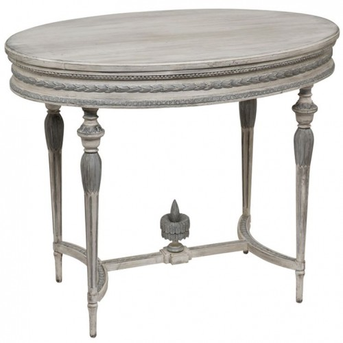 Sweden Early 20th Century A great neoclassical Swedish gray. and white painted oval table in Louis XVI style. Good scale with nice carving and a good later painted finish.