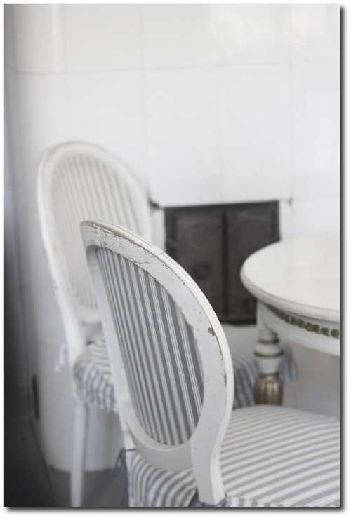 Swedish Chairs With Stipe Gray Slipcovers Seen On House Of Bliss